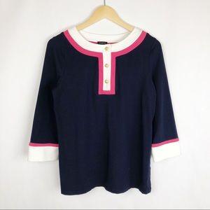 Talbots Blouse Size Medium Navy Pink Top Shirt